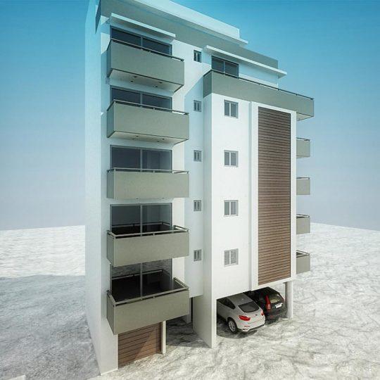 Τρισδιάστατη απεικόνιση πολυκατοικίας με γκαράζ