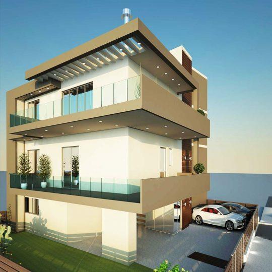 Τρισδιάστατη απεικόνιση διώροφης κατοικίας